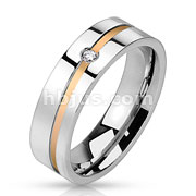 Stainless Steel Gold IP Diagonal Line with Center Gem Band Ring