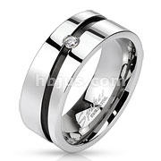 Stainless Steel Black IP Diagonal Line with Center Gem Band Ring