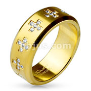 CZ Set Crosses Around Gold IP Over Stainless Steel Rings