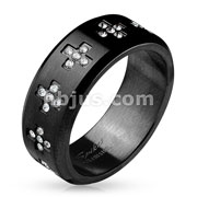 CZ Set Crosses Around Black IP Over Stainless Steel Rings