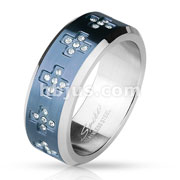 CZ Set Cross Around on Blue IP Center Stainless Steel Rings