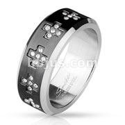 CZ Set Cross Around on Blac IP Center Stainless Steel Rings
