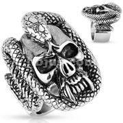 Skull with Snake Coil Stainless Steel Ring