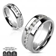 Clear CZ Channel Set Eternit Ring Stainless Steel