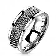 Chain Links Loop Center Ring 316L Stainless Steel