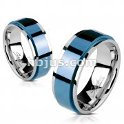 Spinning Center Blue IP 316L Stainless Steel2 Tone Double Layered Ring