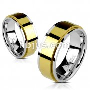 Stainless Steel Two Toned Gold IP Spinner Ring
