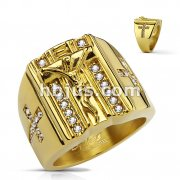 CZ Paved Cross Sides and Jesus on the Cross PVD Gold OverStainless Steel Rings