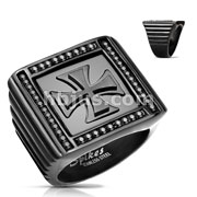 Iron Cross Center Black Stone Paved Square PVD Black Stainless Steel Rings
