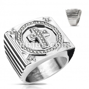CZ Paved Cross Center Square Face Hand Polished Stainless Steel Rings