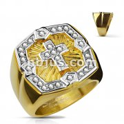 Crystal Paved Square Face with Cross Center PVD Gold Over Stainless Steel Rings