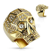 Crystal Paved Faceted Large Skull PVD Gold Stainless Steel Rings