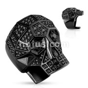 Crystal Paved Faceted Large Skull PVD Black Stainless Steel Rings