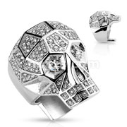 Crystal Paved Faceted Large Skull Hand Polished Stainless Steel Rings