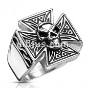 Skull on Tribal Patterned Iron Cross 316L Stainless Steel Rings