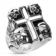 Death Skulls Cross Ring 316L Stainless Steel