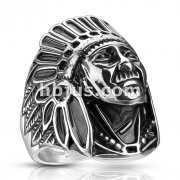 Apache Indian Chief Wide Cast Shield Ring 316L Stainless Steel