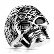 Fleur De Lis Pattern Decorated Skull Wide Cast Ring Stainless Steel