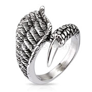 Eagle Wing with Claw Closure Cast Ring Stainless Steel