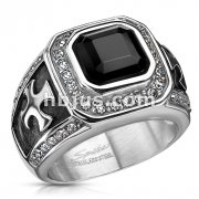 Stainless Steel Onyx Stone with Clear CZs Border and Celtic Cross on Sides Square Cast Ring