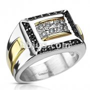 Stainless Steel Two Toned Micro Paved Clear CZs with Black CZ Border Square Cast Ring