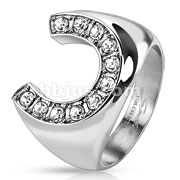 Stainless Steel Horseshoe with Gemmed Rim Cast Ring