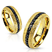 Glittery Gold IP Over Stainless Steel Ring with Black CZ Around