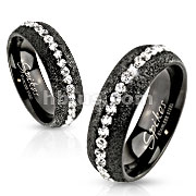 Glittery Black IP Over Stainless Steel Ring with Clear CZ Around