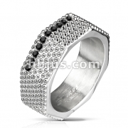 Spiked Surface Octa Ring with Black CZ Set Center Stainless Steel Rings