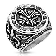 Celtic Cross Center with Fleur De Lis Sides Stainless Steel Biker Cast Ring