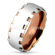 Coffee IP Two Tone Stainless Steel Ring