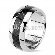 Carbon Fiber Inlay Center Dome Band Ring 316L Stainless Steel