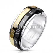Black & Gold IP Roman Numeral Dual Spinner Ring 316L Stainless Steel