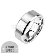 Assorted Sizes of Stainless Steel Brushed Center Flat Band with Beveled Edge Rings Package