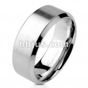 Brushed Center Flat Band with Beveled Edge Ring 316L Stainless Steel