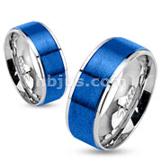 Stainless Steel Two Tone Brushed Blue IP Center Band Ring with Step Edges
