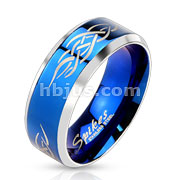 Stainless Steel Duo Tone Blue IP Centered Tribal Inlay Band Ring