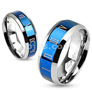 Stainless Steel Blue IP Center with Roman Numerals Beveled Edge Band Ring