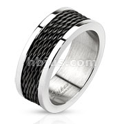 Stainless Steel Black IP Multi Wire Inlay Band Ring