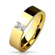 Square CZ Tension Set Gold IP Over 316L Stainless Steel Ring