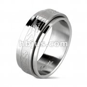 Double Dragon Center Spinner Ring 316L Stainless Steel