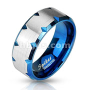 Faceted Edges Blue IP Stainless Steel Rings