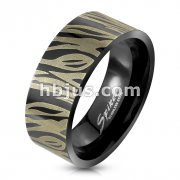 Zebra Etched 316L Stainless Steel Ring Black IP Ring
