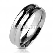 Double Dome Mirror Polished Band Ring Stainless Steel
