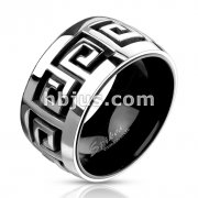 Grooved Maze Two Tone Black IP Band Ring Stainless Steel