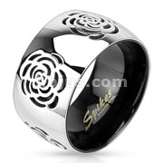 Grooved Rose Two Tone Black IP Band Ring Stainless Steel