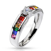 Stainless Steel Engagement Band Ring with Clear Center Gem and Rainbow CZs