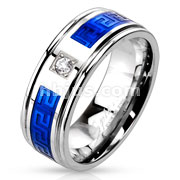 Round CZ Centered Maze Inlay Two Tone Blue IP Band Ring Stainless Steel