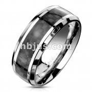 Black Carbon Fiber Center Beveled Edges Stainless Steel Rings