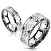 White Carbon Fiber Center Stainless Steel rings